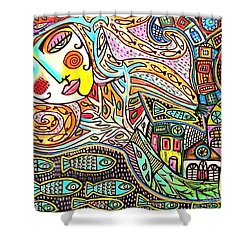 Tree Of Life Village Mermaid Shower Curtain by Sandra Silberzweig