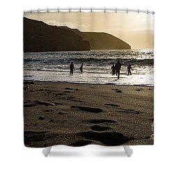 Shower Curtain featuring the photograph Photographs Of Cornwall Trevellas Cove Cornwall by Brian Roscorla