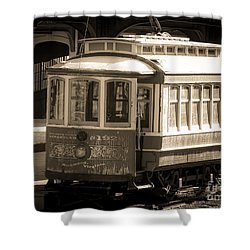 Shower Curtain featuring the photograph Vintage Train Trolley by Melissa Messick