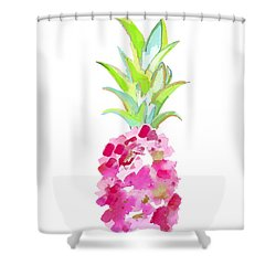 Tropical Pink And Gold Shower Curtain