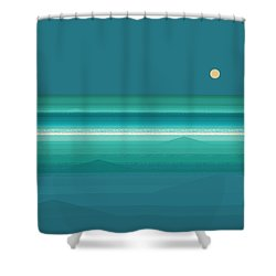 Shower Curtain featuring the digital art Tropical Sea Moonrise by Val Arie