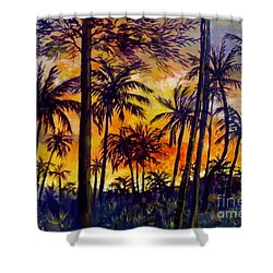 Tropical Sunset Shower Curtain by Lou Ann Bagnall