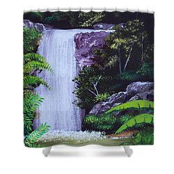 Tropical Waterfall Shower Curtain by Luis F Rodriguez