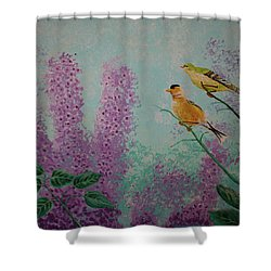 Two Chickadees Shower Curtain