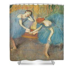 Two Dancers At Rest Shower Curtain by Edgar Degas