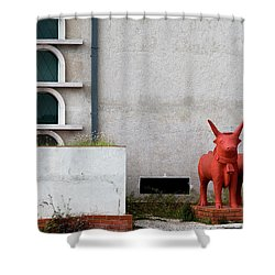 Two Orange Bulls Shower Curtain by Lorraine Devon Wilke