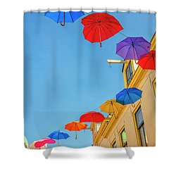 Umbrellas In The Sky Shower Curtain