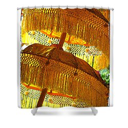 Umbrellas Yellow Shower Curtain by Linda Olsen