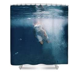 Underwater White Dress Shower Curtain