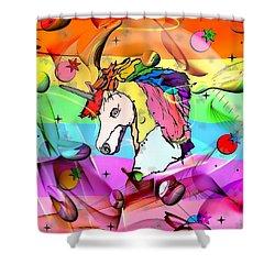 Unicorn Popart By Nico Bielow Shower Curtain by Nico Bielow