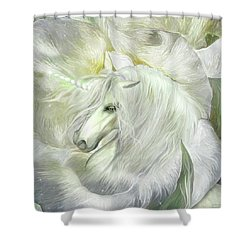 Shower Curtain featuring the mixed media Unicorn Rose by Carol Cavalaris