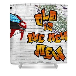 Urban Graffiti - Old Is The New New Shower Curtain