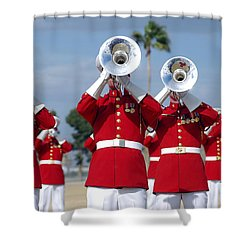 U.s. Marine Corps Drum And Bugle Corps Shower Curtain by Stocktrek Images