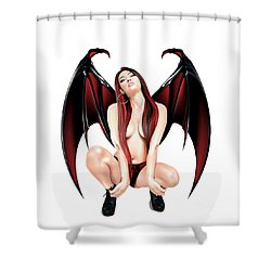 Shower Curtain featuring the drawing Vampire by Brian Gibbs