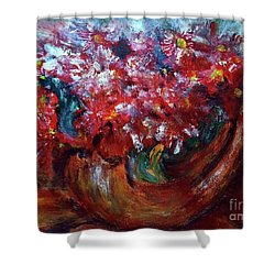 Shower Curtain featuring the painting Vase by Jasna Dragun