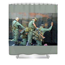 Veterans At Vietnam Wall Shower Curtain