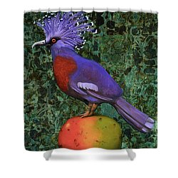 Victoria Crowned Pigeon On A Mango Shower Curtain by Leah Saulnier The Painting Maniac