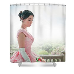 Victorian Woman In A Pink Ball Gown Shower Curtain by Lee Avison