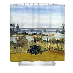View From Sturgeon City Park Shower Curtain by Jim Phillips