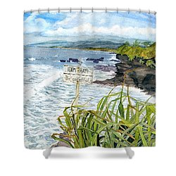 Shower Curtain featuring the painting View From Tanah Lot Bali Indonesia by Melly Terpening