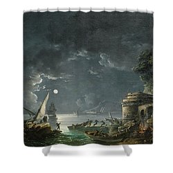 Shower Curtain featuring the painting View Of A Moonlit Mediterranean Harbor by Carlo Bonavia