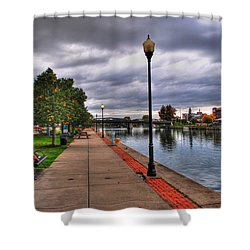 View Of Delaware Bridge At Erie Canal Harbor Shower Curtain