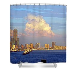 View Of Kaohsiung City At Sunset Time Shower Curtain by Yali Shi