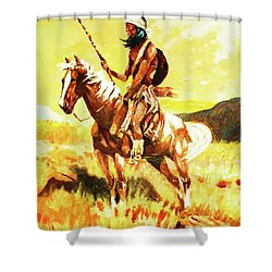 Shower Curtain featuring the painting Vigilante Apache by Al Brown