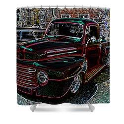 Vintage Chevy Truck Neon Art Shower Curtain