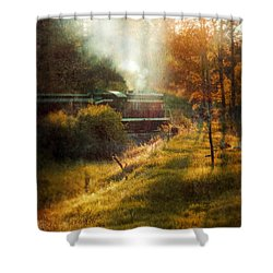 Vintage Diesel Locomotive Shower Curtain by Jill Battaglia