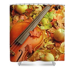 Violin With Fallen Leaves Shower Curtain
