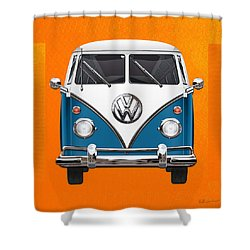 Volkswagen Type 2 - Blue And White Volkswagen T 1 Samba Bus Over Orange Canvas  Shower Curtain