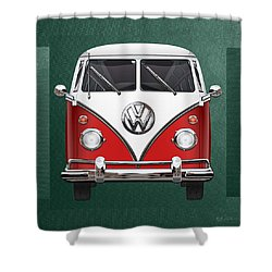 Volkswagen Type 2 - Red And White Volkswagen T 1 Samba Bus Over Green Canvas  Shower Curtain by Serge Averbukh