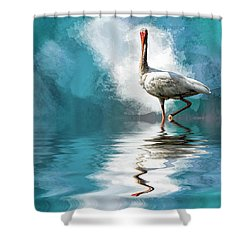 Wading Ibis Shower Curtain by Cyndy Doty