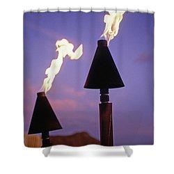 Waikiki, Tiki Torches Shower Curtain by Carl Shaneff - Printscapes