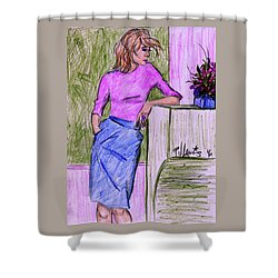 Shower Curtain featuring the drawing Waiting by P J Lewis