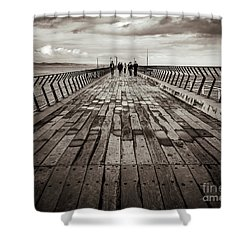 Shower Curtain featuring the photograph Walking The Pier by Perry Webster