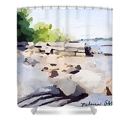 Wall And Beach At Ten Pound Island Shower Curtain