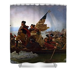 Shower Curtain featuring the digital art Washington Crossing The Delaware by Emanuel Leutze