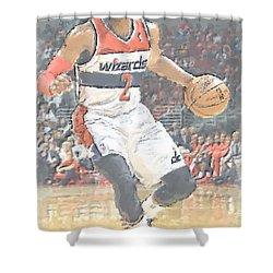 Washington Wizards John Wall Shower Curtain by Joe Hamilton