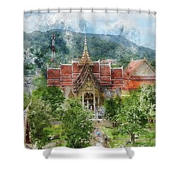 Wat Chalong In Phuket Thailand Shower Curtain