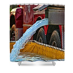 Water Dump Shower Curtain by Tommy Anderson