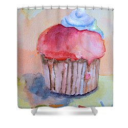 Watercolor Illustration Of Cake  Shower Curtain