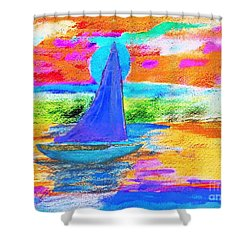 Watercolor Sailing Shower Curtain