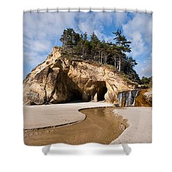 Waterfall Flowing Into The Pacific Ocean Shower Curtain