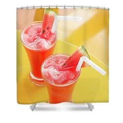 Shower Curtain featuring the photograph Waterlemon Smoothie by Atiketta Sangasaeng