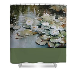 Shower Curtain featuring the painting Waterlilies by Elena Oleniuc