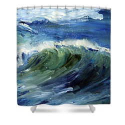 Wave Action Shower Curtain by Michael Helfen