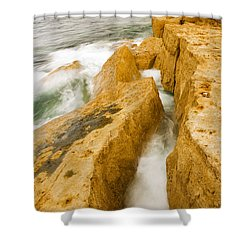 Waves Crashing Over Portland Bill Shower Curtain