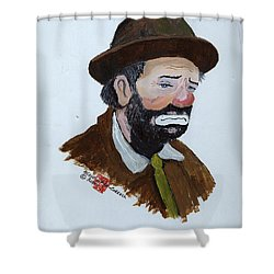 Weary Willie The Clown Shower Curtain by Arlene  Wright-Correll